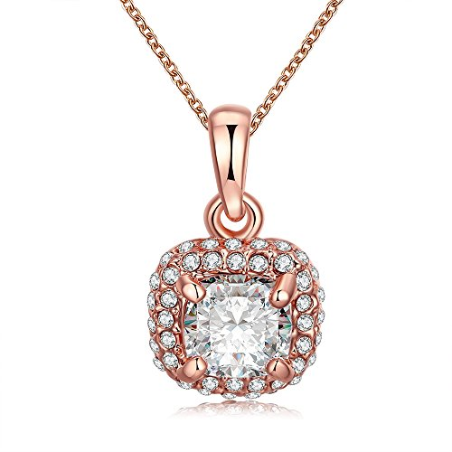Alan M. Arevalo Elegant Womens Fashion Pendent Necklace with Studded Cubic Zirconia Stones