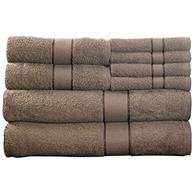 Lavish Home 8-Piece 100-Percent Egyptian Cotton Bath Towel Set, Taupe