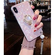 Lozeguyc - Funda para iPhone XS Max de lujo, con soporte para anillos, suave silicona TPU a prueba de golpes, carcasa de cuerpo completo con pedrería de estrás y soporte giratorio de 360 grados para iPhone XS Max, Rosado, iPhone XS Max[6.5 Inch]