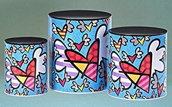 Romero Britto Flying Hearts Metal Nested Canisters 3pc. Set