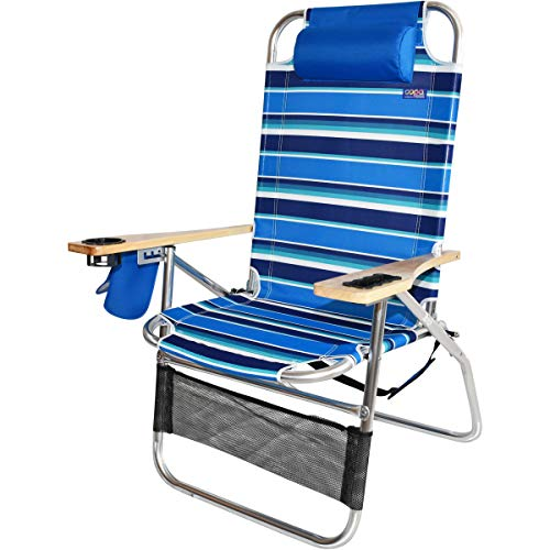Copa Big Papa 17 inch Hi-Seat Heavy Duty Beach Chair - Atlantic Blue Stripe (Papa Chair)