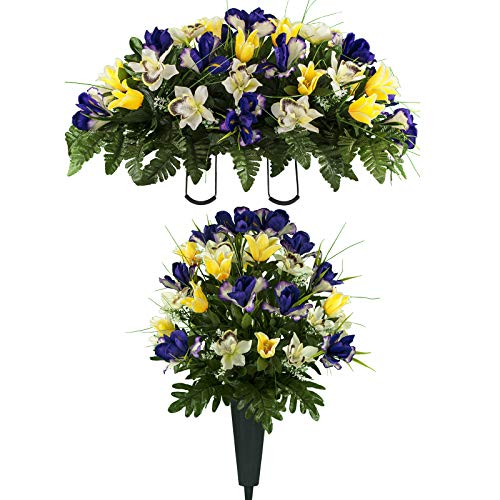 Sympathy Silks Artificial Cemetery Flowers - Realistic Vibrant Tulips, Outdoor Grave Decorations - Non-Bleed Colors, and Easy Fit - One Yellow Purple Tulip Bouquet and One Yellow Purple Tulip Saddle