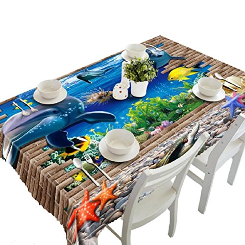 Dolphins Velvet Poster (Ikevan Hot Selling 3D Dining Multi Functional Table Cloth Picnic Tablecloth Table Mat Soft Placemat Mat Decoration Home Party 90x150cm (Marine dolphin))