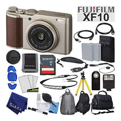 Shoot Camera Kit - Fujifilm XF10 X-Series 24.2 MP Point & Shoot Digital Camera (Gold) with Cleaning Kit, 64GB Card and More Advanced Bundle