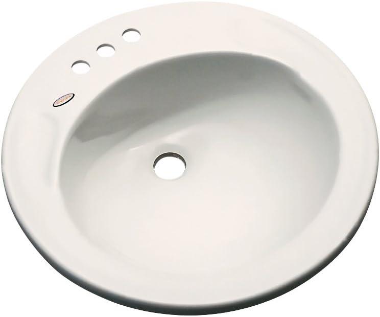 Dekor Sinks 80402 Woodcrest Cast Acrylic Self Rimming 3 Hole Bathroom Sink, Almond