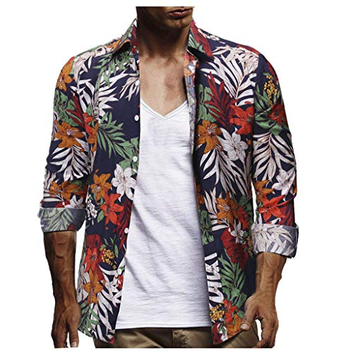 Men Tee Shirts Hawaiian Short Sleeve Shirt Big and Tall Simayixx Summer Tops Beach Party Printed Shirts Cardigan Blouse Dark Blue ()