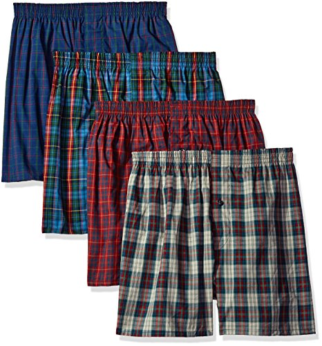 Fruit of the Loom Men's Premium Woven Boxer (4 Pack), Tartan, Large