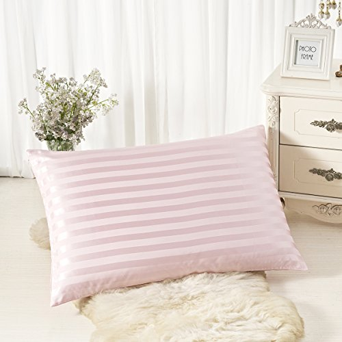 ALASKA BEAR - Natural Silk Travel/Toddler 13x18 Inches Pillowcase, Hypoallergenic, 19 momme, 600 thread count 100 percent Mulberry Silk Pillowcase with hidden zipper (1, Pink Stripe)