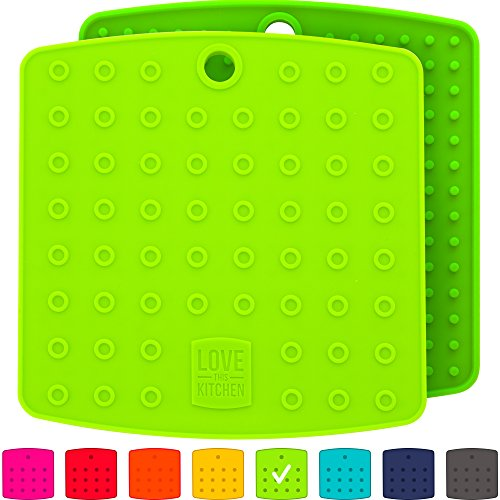 Premium Silicone Trivet Mats / Hot Pads, Pot Holders, Spoon Rest, Jar Opener & Coasters - Our 5 in 1 Kitchen Tool is Heat Resistant to 442 °F, Thick & Flexible (7