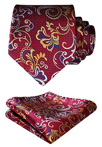 HISDERN Paisley Floral Wedding Tie Handkerchief Woven Classic Men's Necktie & Pocket Square Set,Burgundy / Yellow,One Size
