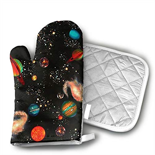 W3Zap6 Solar System Galaxy Oven Mitts BBQ Oven Gloves Baking Pot Mitts for Kitchen Cooking by W3Zap6