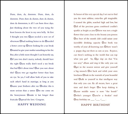 Funny Blank - Quiplip Funny Fill-In-The-Blank Wedding and Birthday Cards, 6-Pack (QL03246PCK)