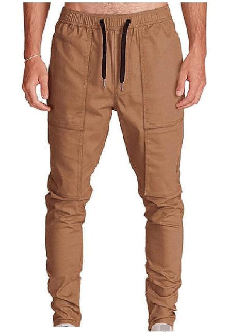 Winwinus Mens Patched Close-Bottom Regular-Fit Waist Tie Casual-Pants