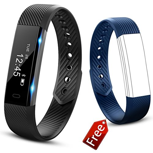 JIUXI Fitness Tracker, Waterproof Bluetooth Smart Bracelet Pedometer Sleep Monitor Calorie Counter, Activity Tracker Smart Watch with Replacement Band for Android & IOS