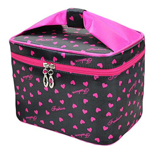 HOYOFO Women Portable Travel Cosmetic Bags with Brush Holder Make Up Bags