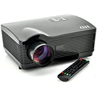 Multimedia HD 1080P LED Projector for Home Cinema by The Emperor of Gadgets® - Supports Laptop PC, DVD Player, Smartphone, Tablet, Video Game Consoles and More (Black)
