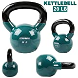 FITNESS MANIAC Vinyl Coated Kettlebell For Cross Training Swing 20 lbs Weightlifting Women/Men Vinyl Coated Kettlebell For Cross Training Swing Yoga Home Gym Workout Weights Fitness Training