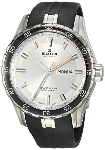 Edox-Mens-Grand-Ocean-Swiss-Automatic-Stainless-Steel-and-Rubber-Diving-Watch-ColorBlack-Model-88002-3ORCA-ABUN