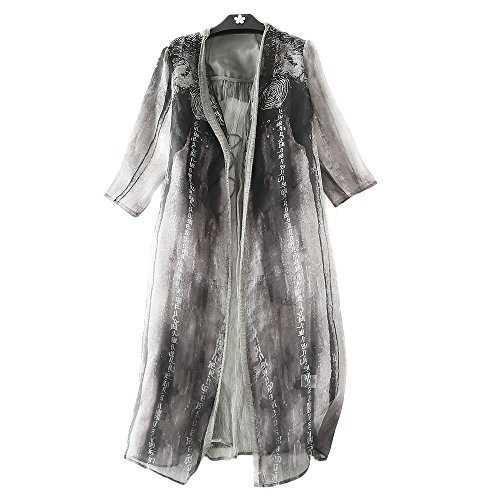 MORAN Original design Fashion ladies summer Chinese style printing Silk Cardigan coat - Silk Coat Chinese Jacket Womans