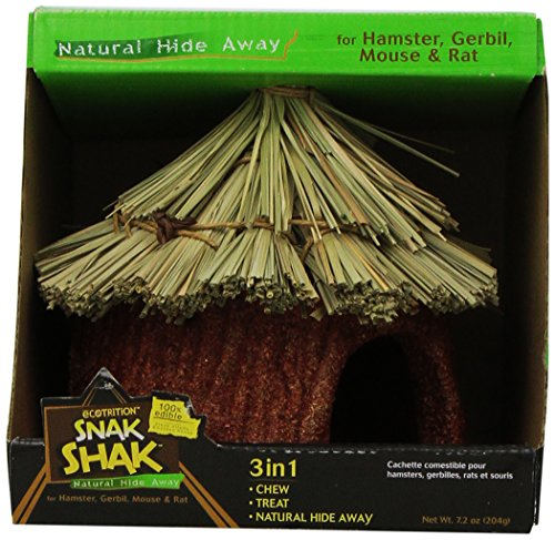 eCotrition Small Animal Snak Shak Natural Hide Away, 7.2-Ounce (Wood Hut Hamster)