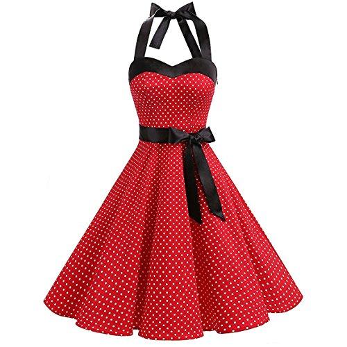 YAMEE Damen Vintage Abendmode Cocktail Partykleider Knielanges Kleid ...
