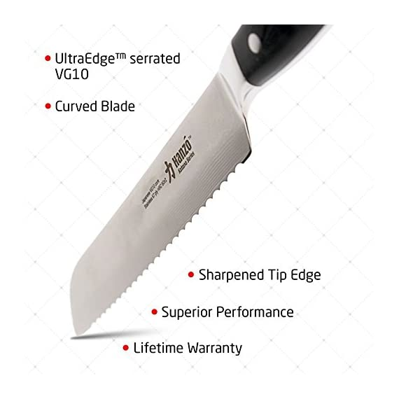 HANZO Serrated Bread Knife Professional - 9 inch Katana Series - 67 ply Japanese VG10 steel - G10 Military Grade Custom Contoured Handle - Outstanding handling and edge retention 8 PERFORMANCE -Perfect performance, durability and comfort for professional chefs, cooks and culinary enthusiasts. Ancient craftmanship combines with modern technology and results in a knife with perfect balance and feel, stunning looks and most importantly outstanding performance in any kitchen DURABILITY AND STRENGTH - Hanzo serrated knives come to you ready to use Built from ultra sharp VG-10 Japanese steel layered 67 times with a triple riveted full length tang your new knife has exceptional strength durability and resilience no matter if you use it in a commercial kitchen or just everyday use at home UNPARALLELED PERFORMANCE comes from attention to detail. Perfectly balanced with just the right heft the scalpel like blade makes food prep easy, smoothly slicing through breads cakes vegetables fruit and meats. Perfect for professional chefs to home cooks it will add a touch of class to your kitchen