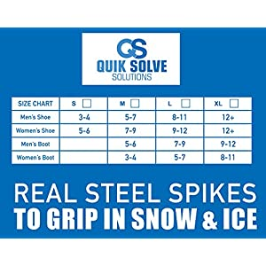Quik Solve Ice Snow Traction Shoe Boot Cleats - No Slip Gripper Spikes Large