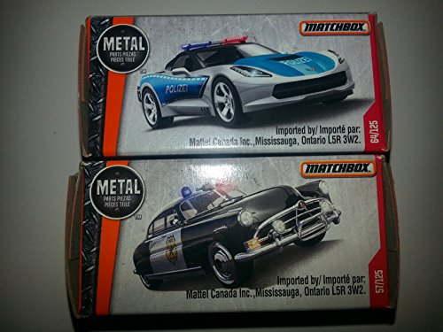 Matchbox set of 2 police cars: '51 Hudson Hornet and '15 Corvette Stingray! In collector's boxes!