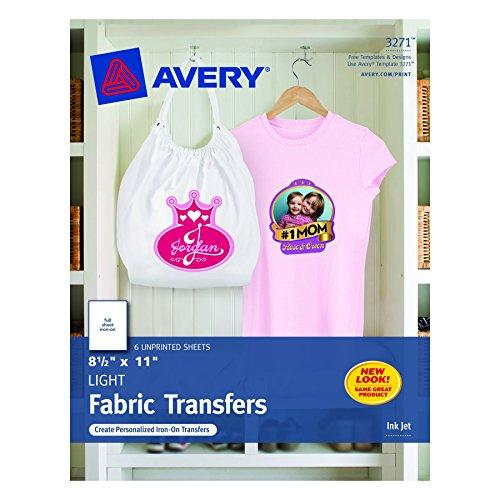T-shirt Transferencias para impresoras de inyección de tinta, 8,5 x 11 pulgadas, para su uso con blanco o luz Tela color, 6 hojas (03271)