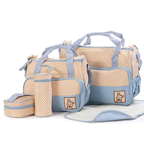 Price comparison product image Moolecole 7 in 1 Mommy Tote Bag Travel Bag Diaper Bag Set (Sky Blue)
