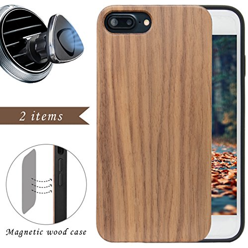 iProductsUS Wood Phone Case for Men Compatible with iPhone 8 7 6/6S (4.7 inch) and Magnetic Mount - Walnut Blank Cases, Built in Metal Plate, TPU Rubber Protective and Shockproof Covers (4.7