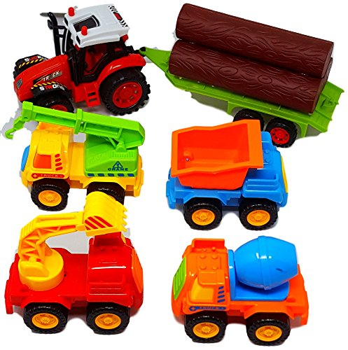 Check-Out-This-Popular-5-Piece-Bundle-of-Toy-Trucks-For-Toddlers-Gift-Pack-That-Includes-4-Toy-Construction-Vehicles-Plus-a-Farm-Tractor-Truck-With-a-Log-Trailer-For-Ages-3-Get-Yours-Today