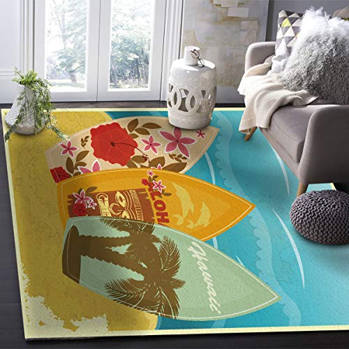 OUR WINGS Modern Area Rug,Tropical Summer Vacation Hawaii Surfboard Beach 4 Feet by 6 Feet Indoor Area Rugs Living Room Carpets for Home Decor Bedroom Nursery Rugs