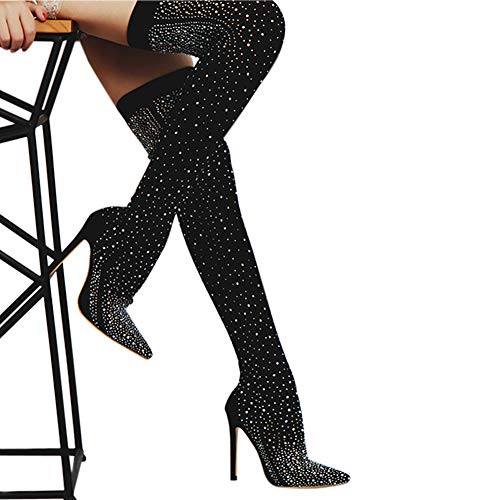 4 1/2 Inch Knee Boot (LALA IKAI Women Glitter Black Boots with Rhinestone Over The Knee Pump Heels Stretch Evening Party Dance Boots)