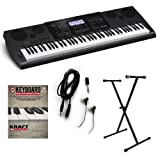 Casio WK-7600 Keyboard ESSENTIALS BUNDLE w/ Stand & Earbuds