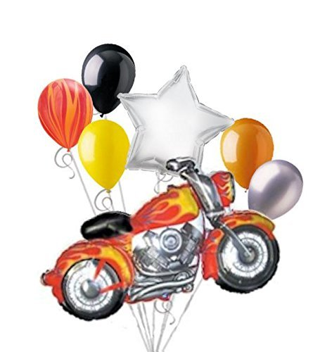 7pc Motorcycle Flames Balloon Bouquet -