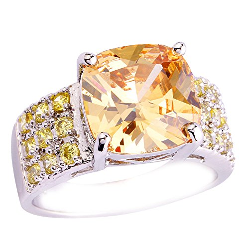 Empsoul 925 Sterling Silver Natural Novelty Created 3cttw Morganite Topaz Wedding Ring (Quest Halloween 2017)
