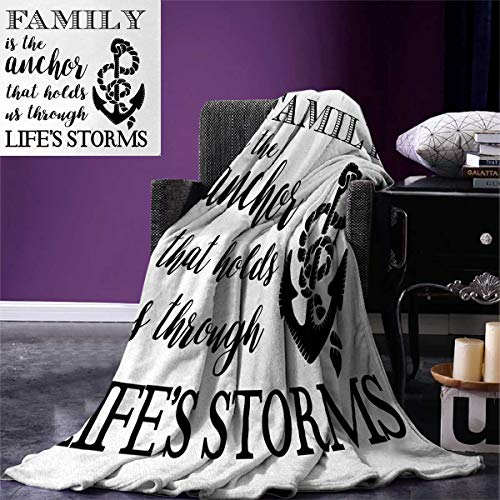 Family Warm Microfiber All Season Blanket Family is Anchor That Holds Us Inspiration Stylized Writing Anchor Rope Print Image Blanket 62