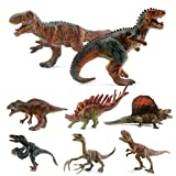 "EAHUMM 5"" to 8"" Educational Vivid Realistic Toy Jurassic Dinosaur Figures Assorted Colorful Dino Play Set Party Favors Toys for Kids Toddlers Pack of 8"