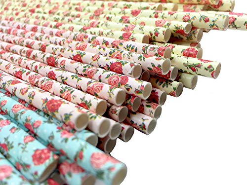 JPACO JUMBO Floral Paper Straws (75 Pack) 100% Biodegradable Drinking Straws