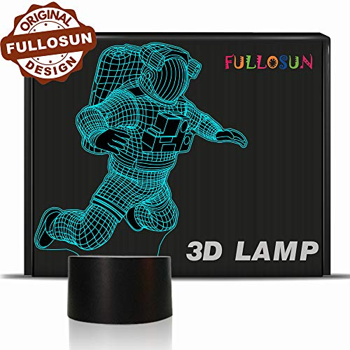 Spaceman 3D Night Light, Astronaut Rocket Optical Illusion Lamp Birthday Gift Idea for Outer Space Fan Xmas Valentine's Day Gift, Living Room Decor Night Light with 7 Colors -
