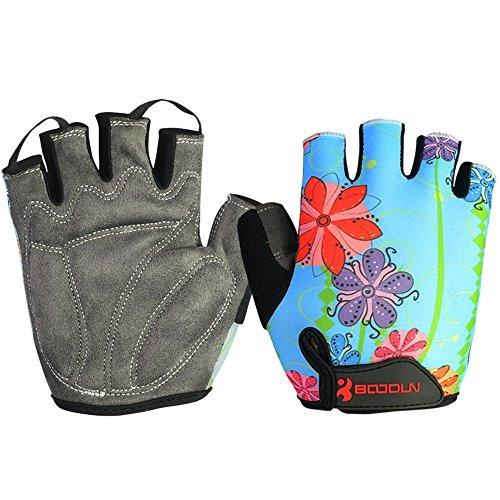 MIFULGOO Boy Girl Child Children Kid Padded Half Finger Fingerless Short Gloves Mitt Mitten for Cycling Exercise Skate Skateboard Roller Skating (Blue Flower, XL)