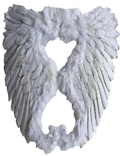 Yummy Bee Womens Angel Fairy Real Feather Glittery Costume Wings Deluxe Large 20