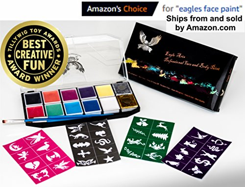 Award Winning Face & Body Paint Professional Palette by Eagle Art | Water Based Paint | Non-Toxic Hypoallergenic | FDA Approved Completely Safe Cosmetic Grade Face painting Kit | Ideal for Kids, Adult