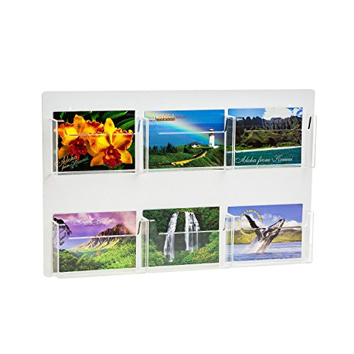 Source One Multiple Pocket Deluxe Clear Postcard Holder Display Wall Mount (1 Pack, 6 Pocket)