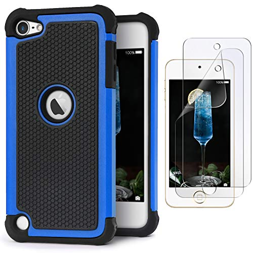 IDweel iPod Touch 7 Touch 6 Touch 5 Case with 2 Screen Protectors, [Anti-Slip Series] Shockproof Durable Hybrid Dual Layer Rugged Protective Case Cover for Apple iPod Touch 5/6/7th Generation - Blue