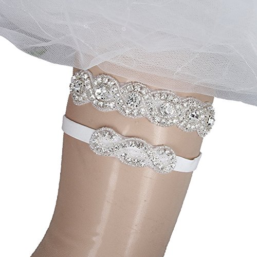 IVERIRMIN Wedding Garters for Bride Women's Bridal Garter Set with Rhinestones Discount - - Wedding Garters Discount
