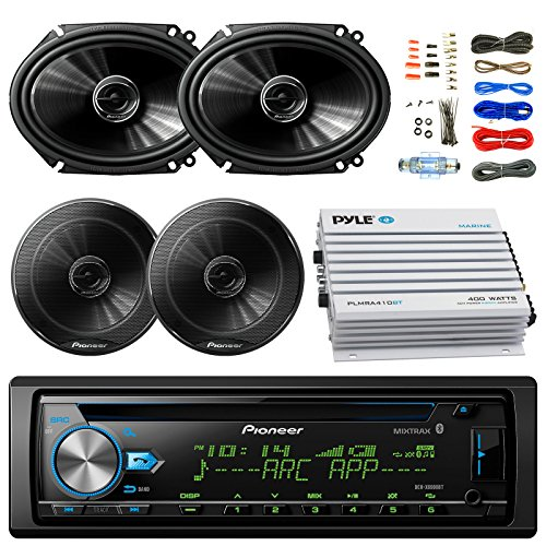 """Pioneer DEH-X6900BT Car Bluetooth Radio USB AUX CD Player Receiver - Bundle Combo With 2x 250W 6x8"""" inch 2-Way Coaxial Car Audio Speakers + 2x 6.5-Inch Speakers + 4-Channel Amplifier + Amp Kit"""