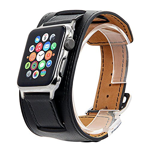 (V-Moro Compatible Apple Watch Band 42mm Cuff Bracelet Leather Band iWatch Band Bracelet for Apple Watch Series 3 Series 2 Series 1, Sport, Hermes, Nike+, Edition- Black)