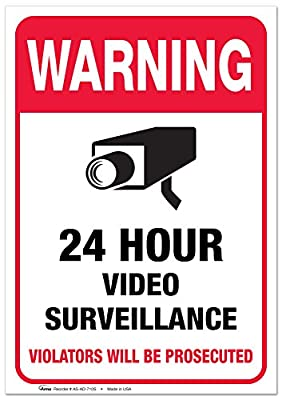 "24 Hour Video Security Surveillance Vinyl Sign - 7x10"" Sticker Self-Adhesive Decal Poster - Weatherproof, 2PK, By ARMO"